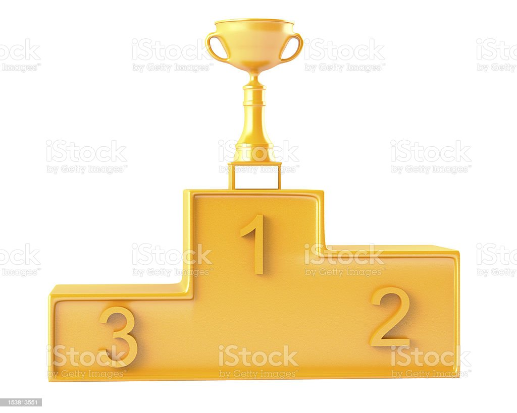 Cup on golden podium royalty-free stock photo