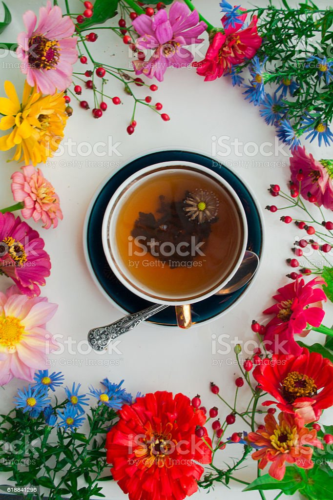 Cup on tea and autumn flowers frame on white background stock photo