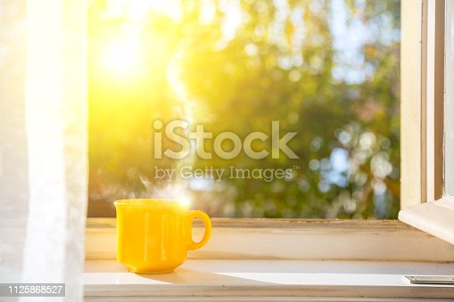 Good morning! Cup on the window with sun and defocused nature background