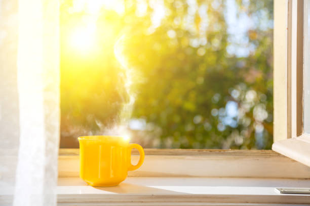 Cup on the window with sun and defocused nature background Good morning! Cup on the window with sun and defocused nature background sunrise stock pictures, royalty-free photos & images