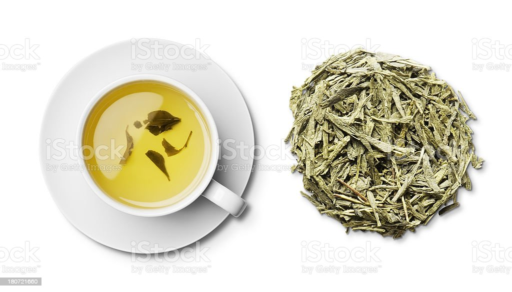 Cup pf Japanese bancha green tea and leaves overhead stock photo