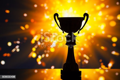 istock cup trophy silhouette against shiny sparks background 509530498