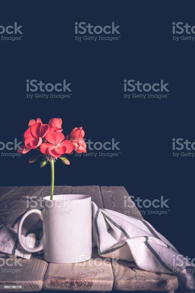 Cup white table of wood with flowers. Space for your text stock photo