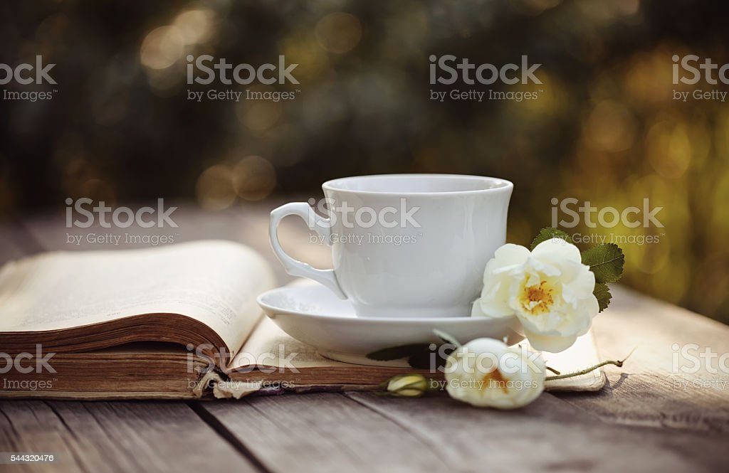 Cup with a flowers of rose on an open book stock photo