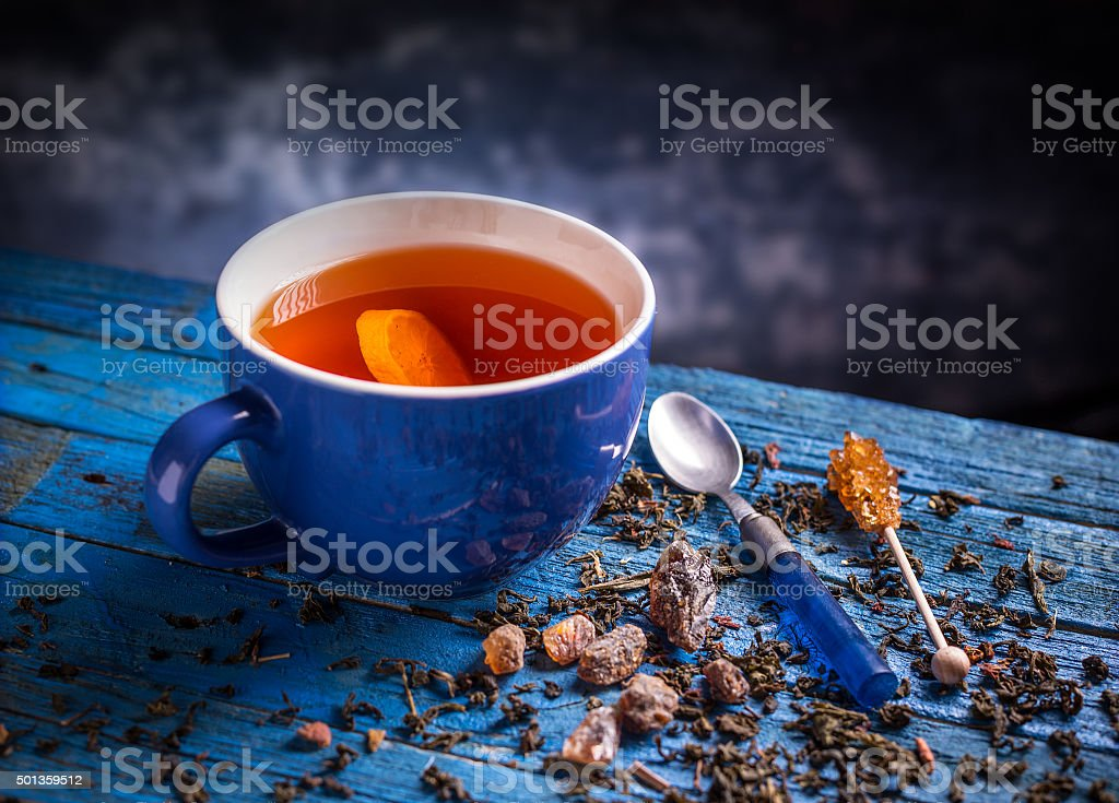 Cup with black tea stock photo