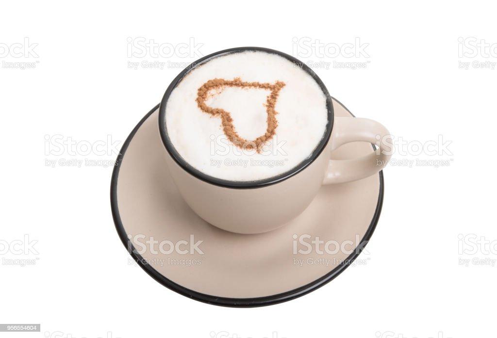 Tasse mit Cappuccino isoliert - Lizenzfrei Braun Stock-Foto