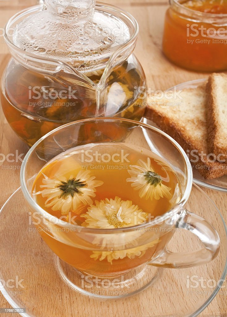 cup with chrysanthemum green tea royalty-free stock photo