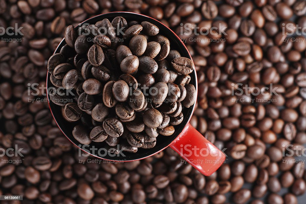 Cup with coffee beans royalty-free stock photo