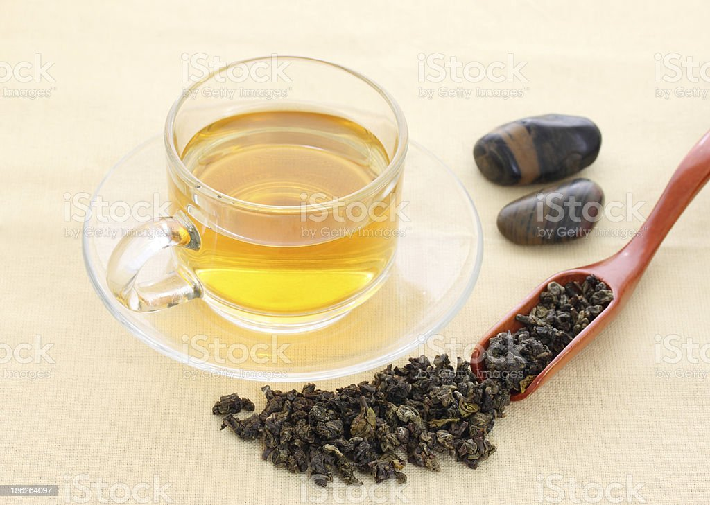 Cup with green tea royalty-free stock photo