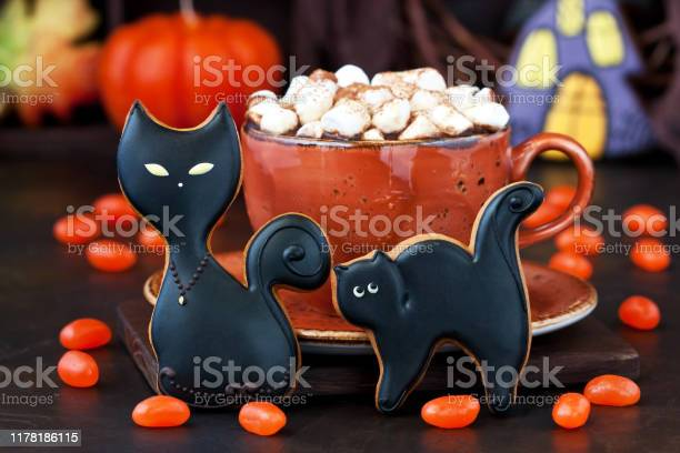 Cup with hot chocolate drink and gingerbread cookies for halloween picture id1178186115?b=1&k=6&m=1178186115&s=612x612&h=dxfib3fdk8z2nhsds5teqc9feyigewldcwtbqfgbw6m=
