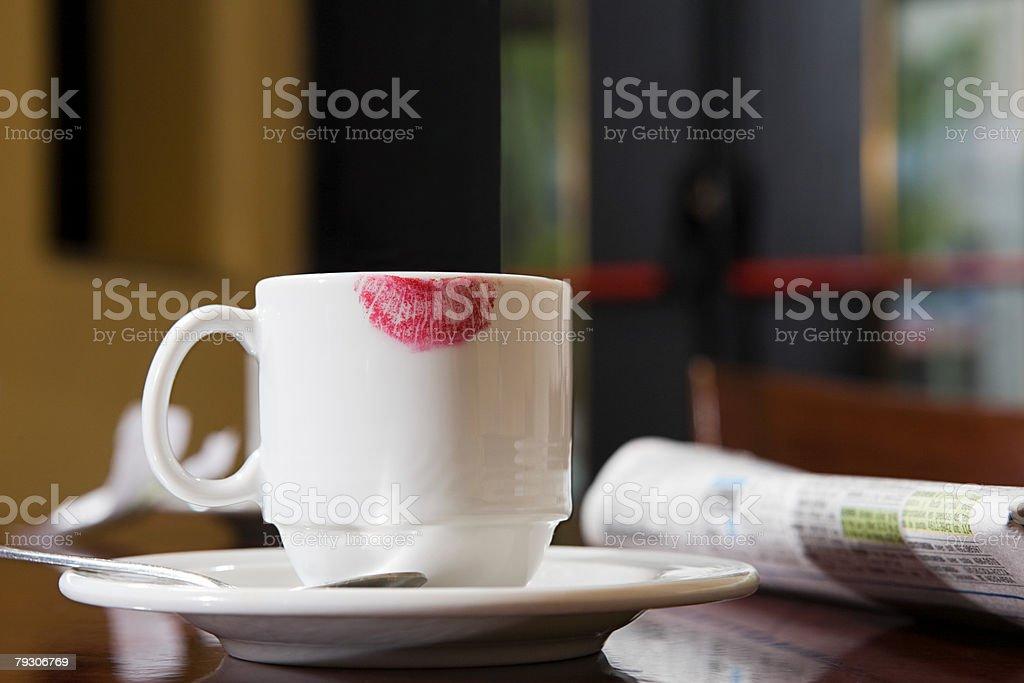 컵, 립스틱 mark royalty-free 스톡 사진