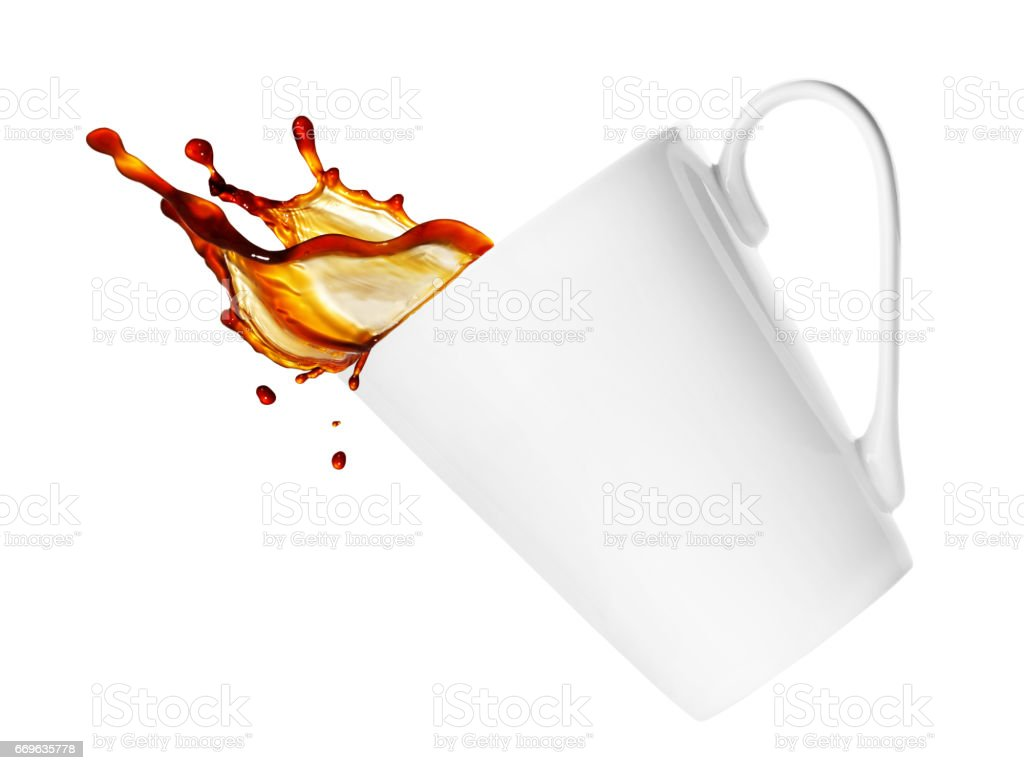 cup with splash isolated on white stock photo
