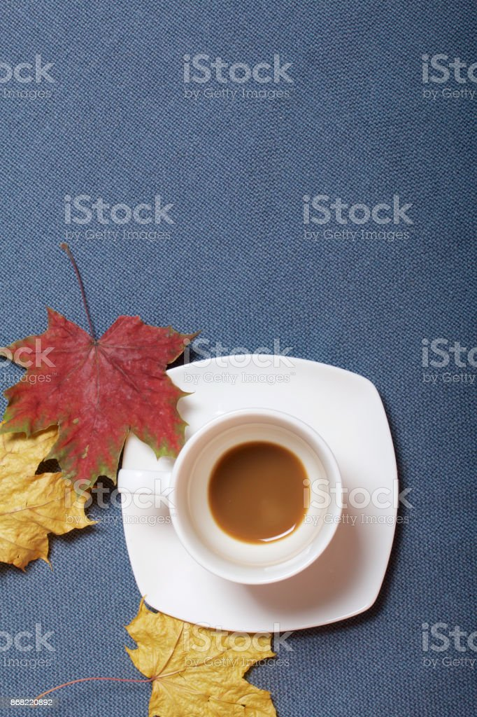 A cup with unapproved coffee. Fallen autumn leaves of yellow and red are scattered on the surface. stock photo