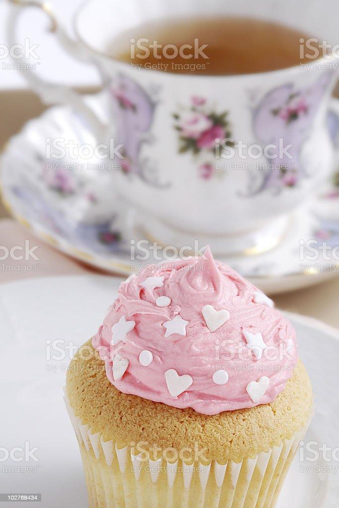 Cupcake and tea royalty-free stock photo
