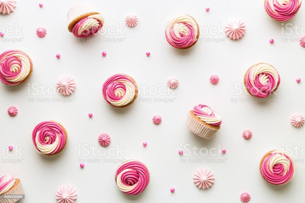 Cupcake background on white stock photo