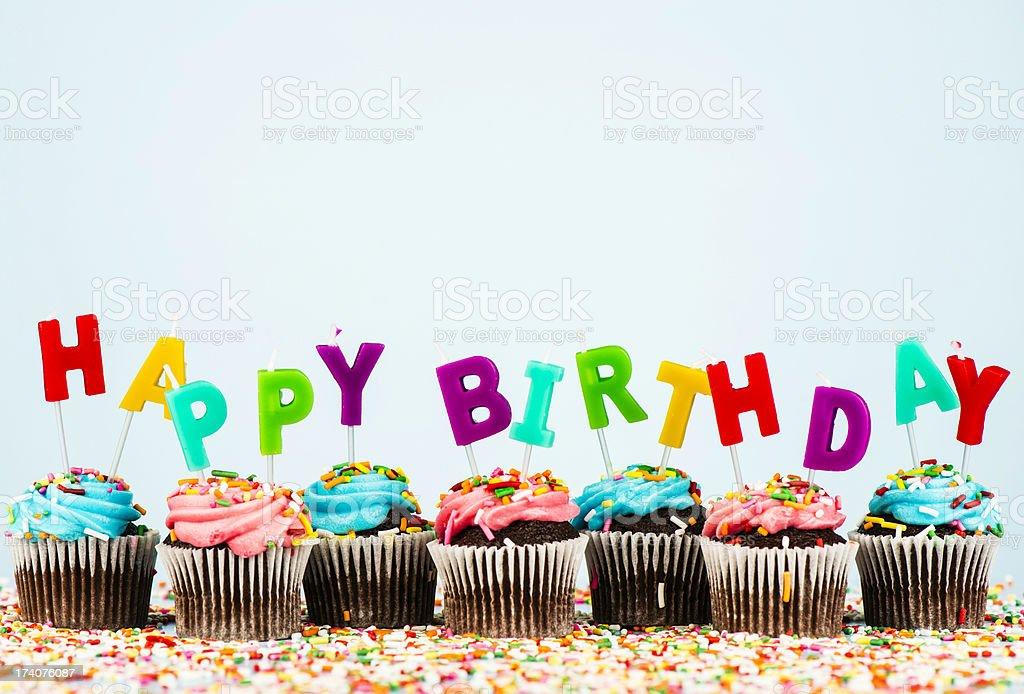 Cupcake Border with Happy Birthday Message stock photo