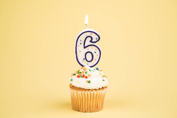 cupcake number series (6) - number 6 stock photos and pictures