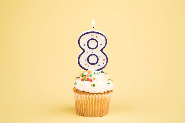 Cupcake Number Series (8)  8 9 years stock pictures, royalty-free photos & images
