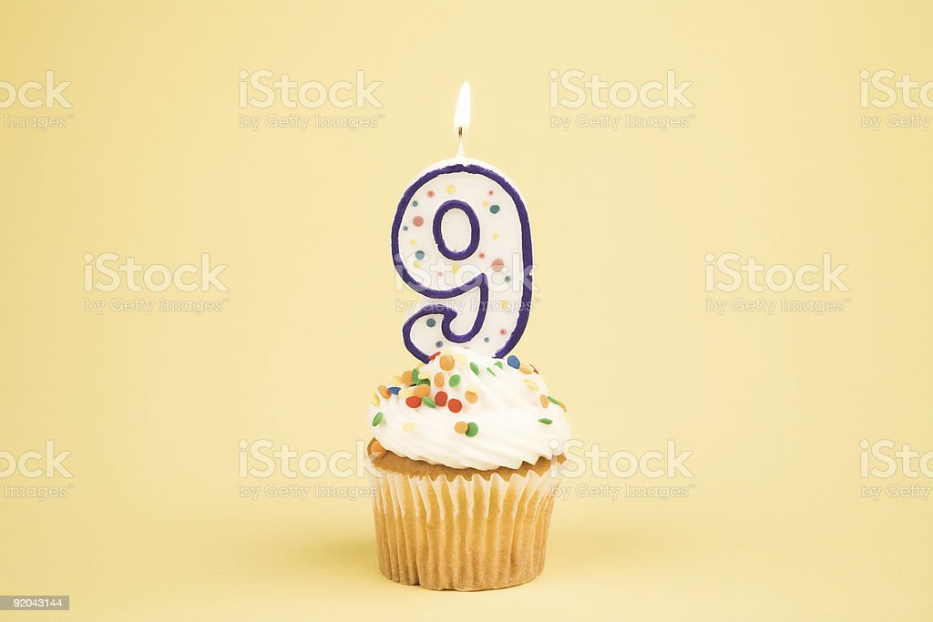 Cupcake Number Series (9) stock photo