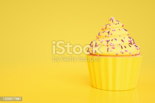 3d rendering of cupcake on yellow background.