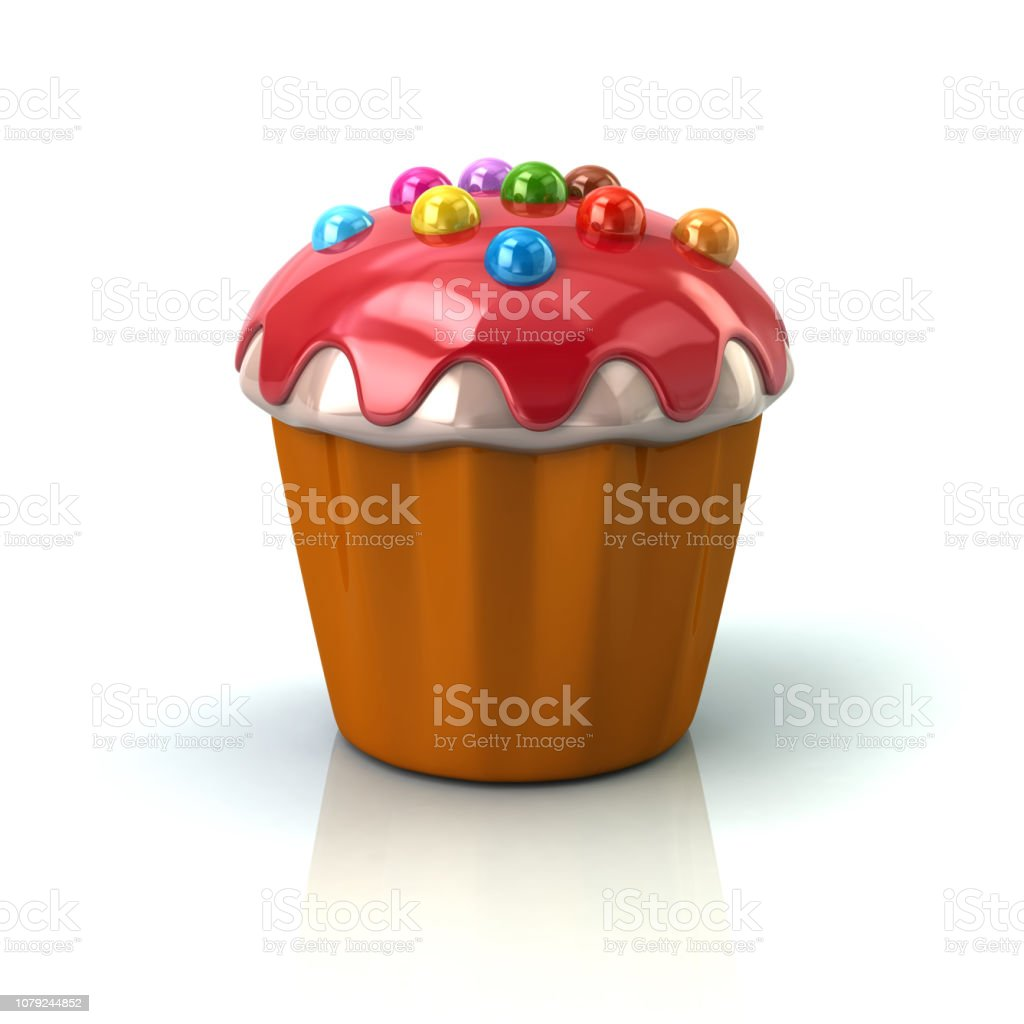Cupcake or muffin with red cream stock photo