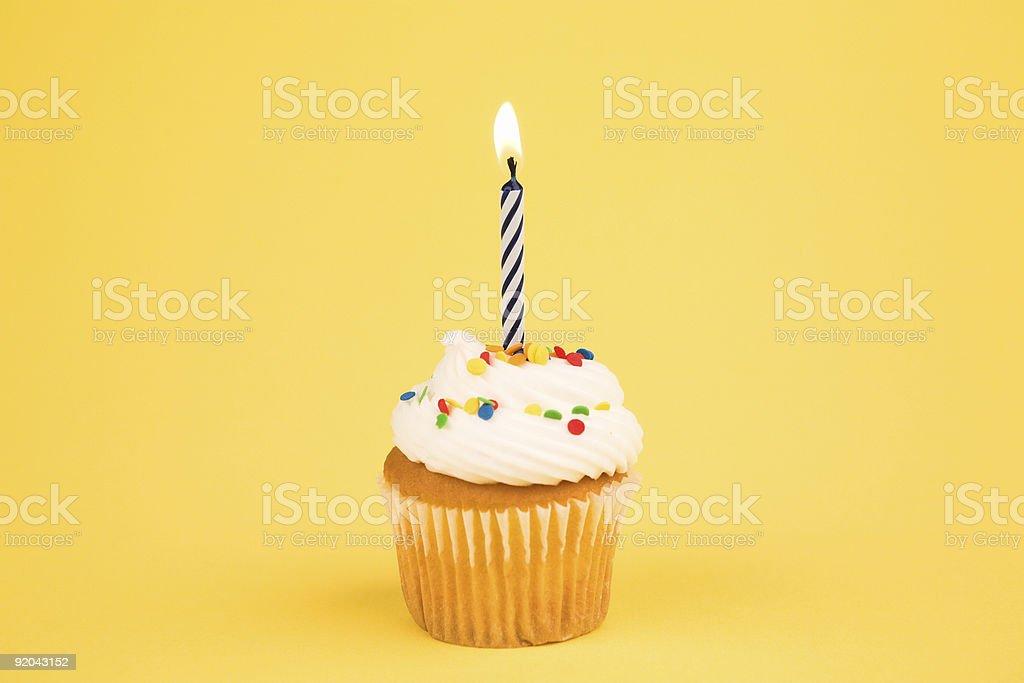 Cupcake - Single Candle royalty-free stock photo
