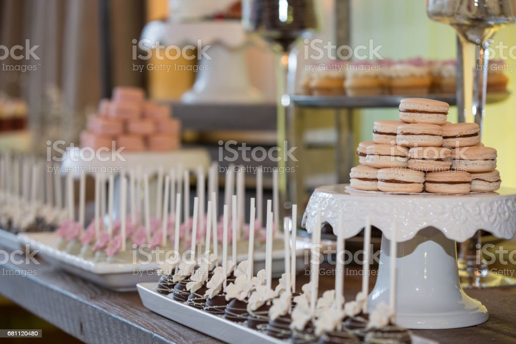 Cupcake Tower Macaroons Cake Pop at Wedding, Birthday Party Event royalty-free stock photo