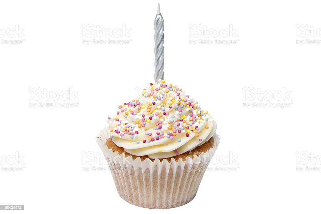 Cupcake with a Candle and Clipping Path royalty-free stock photo