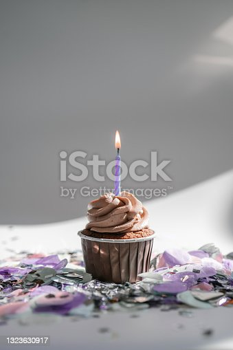 istock A cupcake with a candle stands on a white background with a shadow. 1323630917