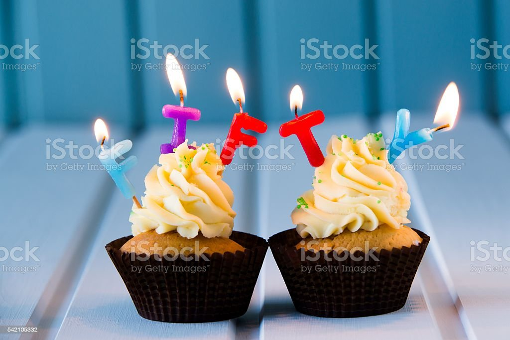 Cupcake With A Candles For 50 Fiftieth Birthday Stock Photo More