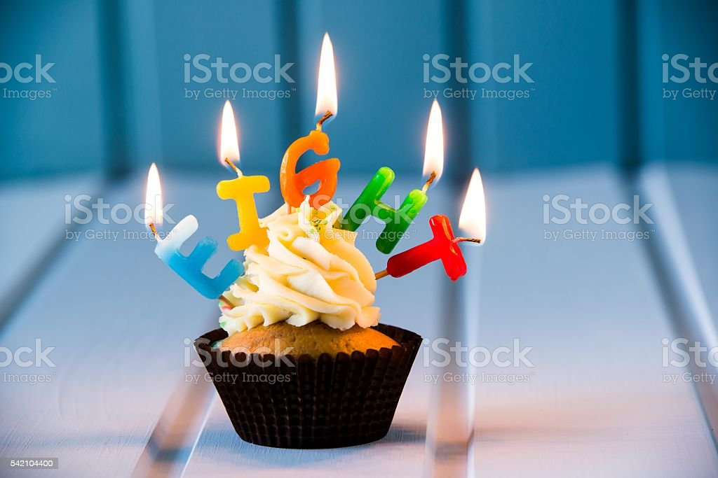 Awesome Cupcake With A Candles For 8 Eighth Birthday Stock Photo Funny Birthday Cards Online Barepcheapnameinfo