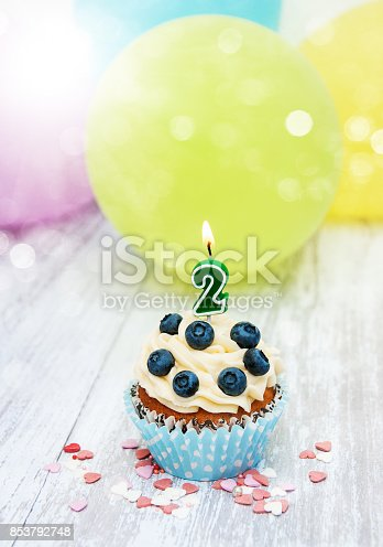 istock Cupcake with a numeral two candle 853792748