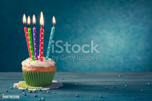 istock Cupcake with candles 599760258