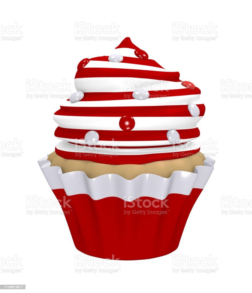 Cupcake mit Sahne-Kappe aus roten und weißen Ringen mit Smarties. – Foto