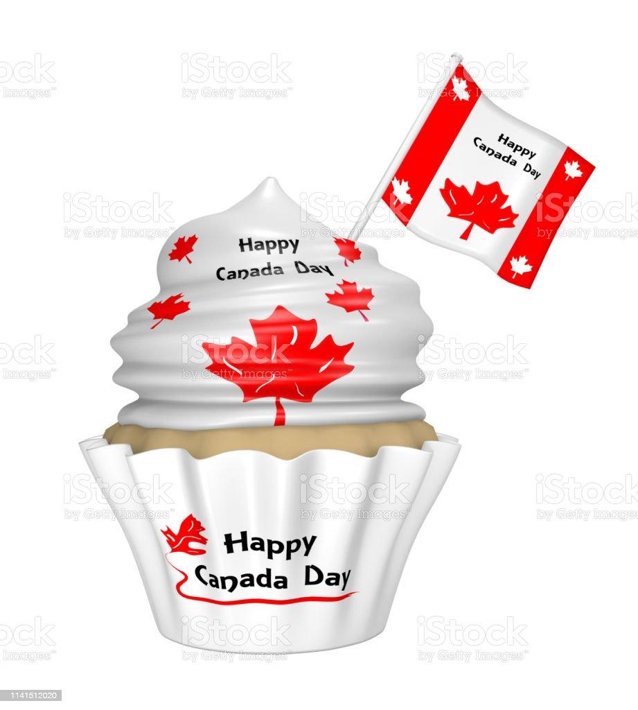 Cupcake mit Design für Happy Canada Day. – Foto