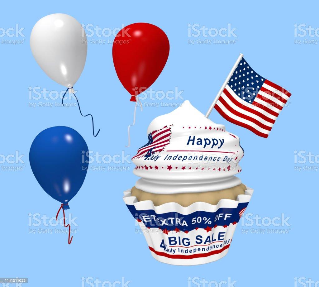 Cupcake mit Design für den amerikanischen Unabhängigkeitstag – Foto