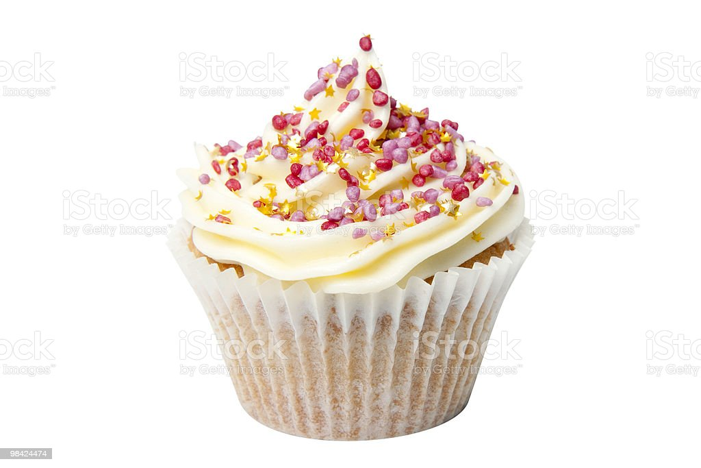 Cupcake with Gold Stars and Clipping Path royalty-free stock photo