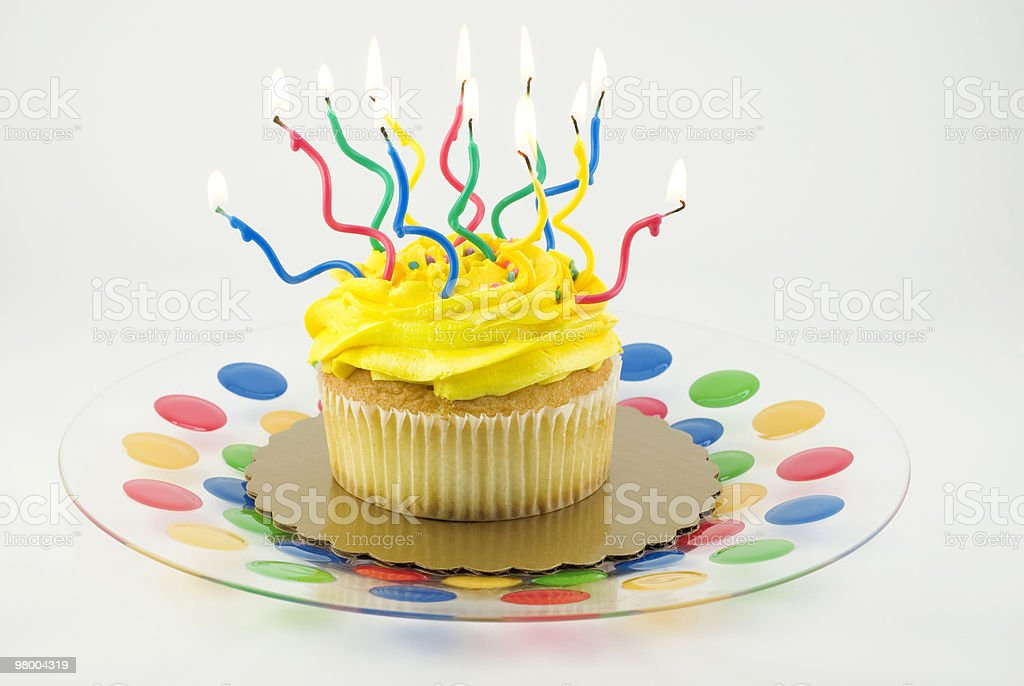 Cupcake with Many Lit Candles royalty free stockfoto