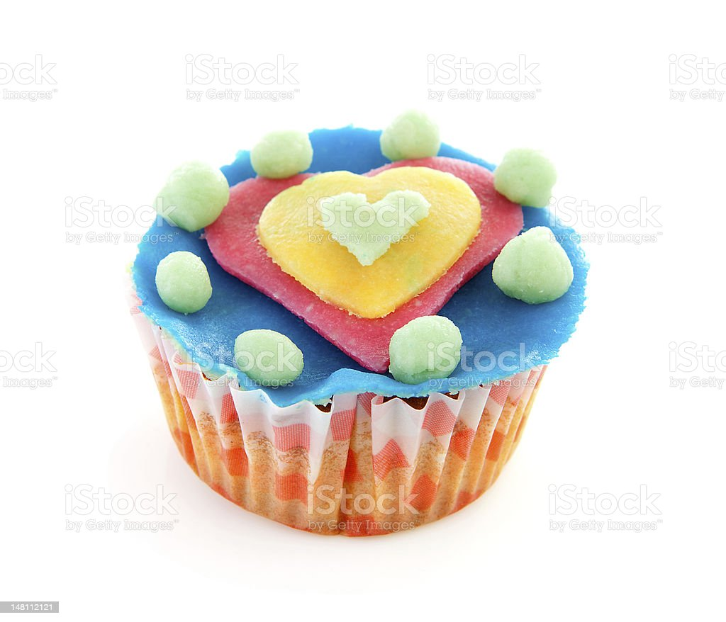 cupcake with marzipan heart decoration royalty-free stock photo