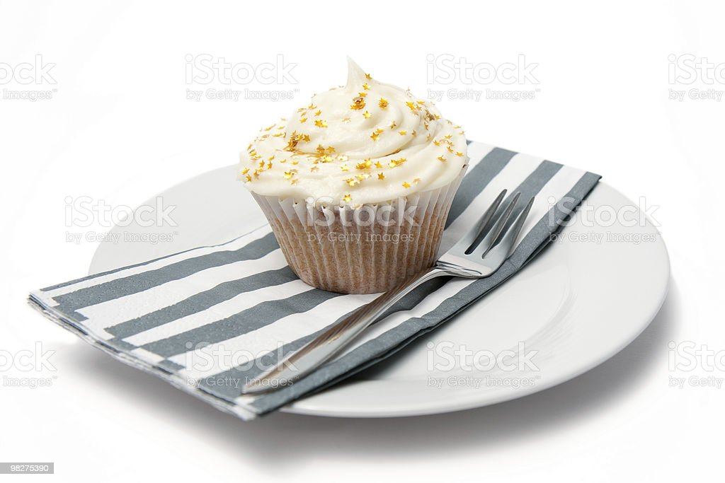 Cupcake con stelle e forchetta foto stock royalty-free