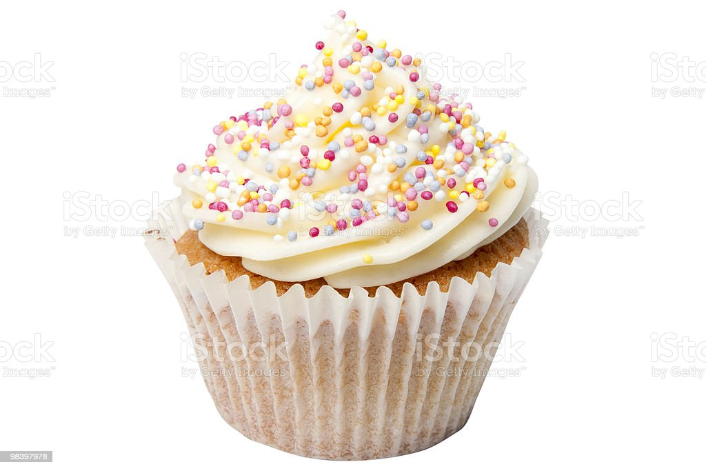 Cupcake with Sugar Balls and Clipping Path royalty-free stock photo
