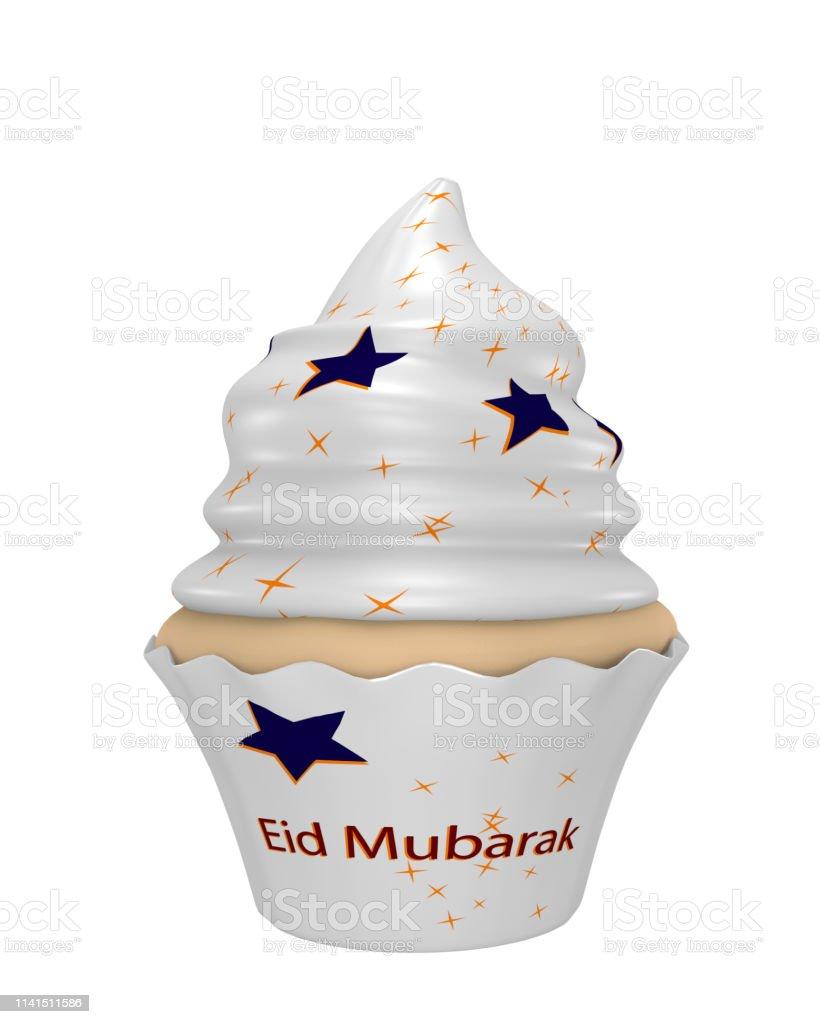 Cupcake mit dem Text Eid Mubarak, blau und gelb Sterne. – Foto