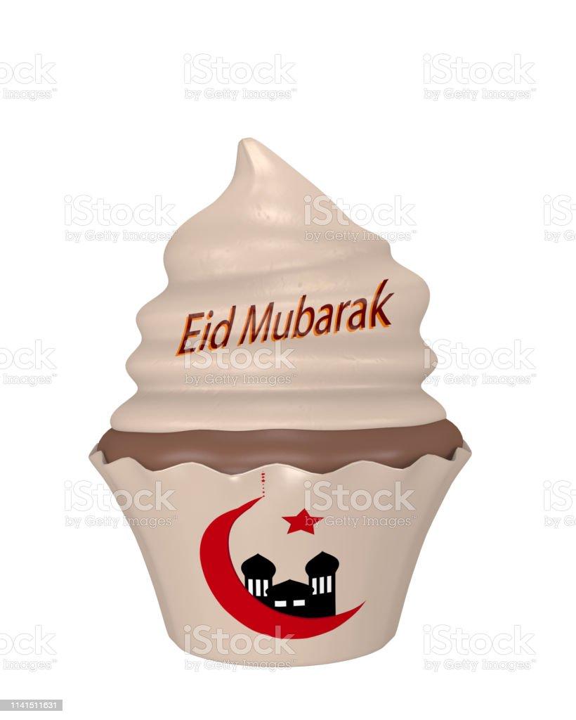 Cupcake mit dem Text Eid Mubarak, Crescent und Moschee. – Foto