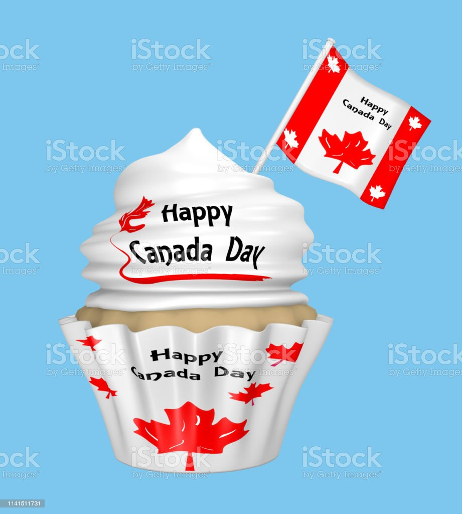 Cupcake mit dem Text Happy Canada Day und Ahornblatt. – Foto