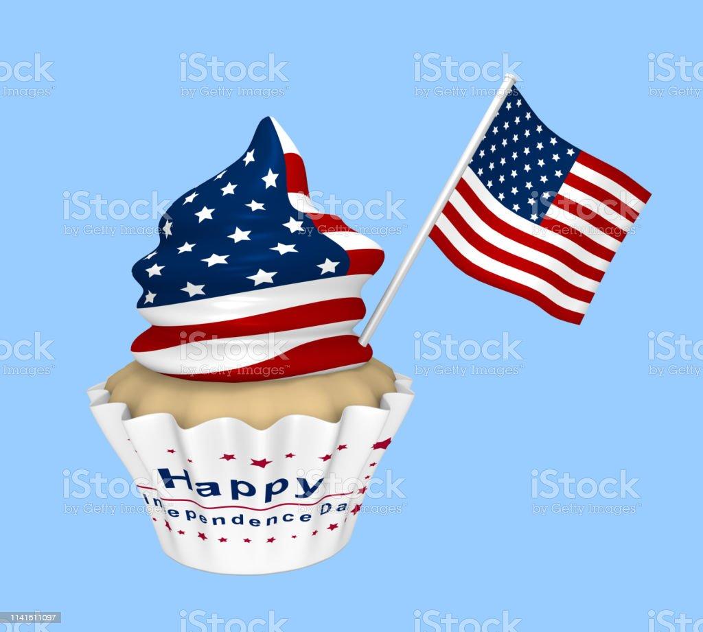 Cupcake mit US-Design und dem Text Happy Independence Day. – Foto