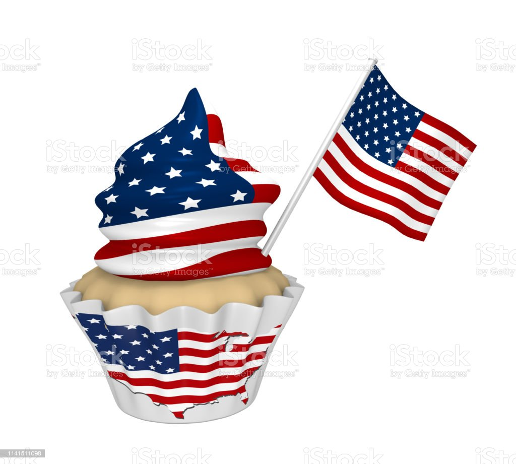 Cupcake mit USA-Design. – Foto