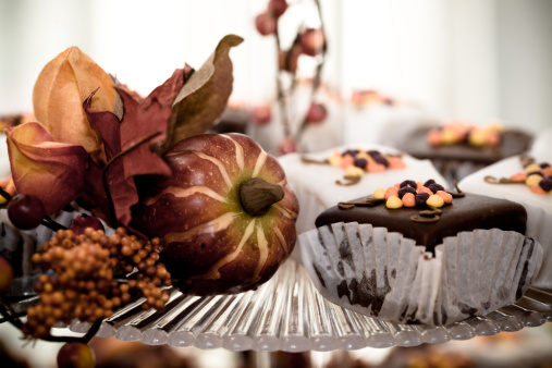 Cupcakes And Fall Decorations Stock Photo - Download Image Now
