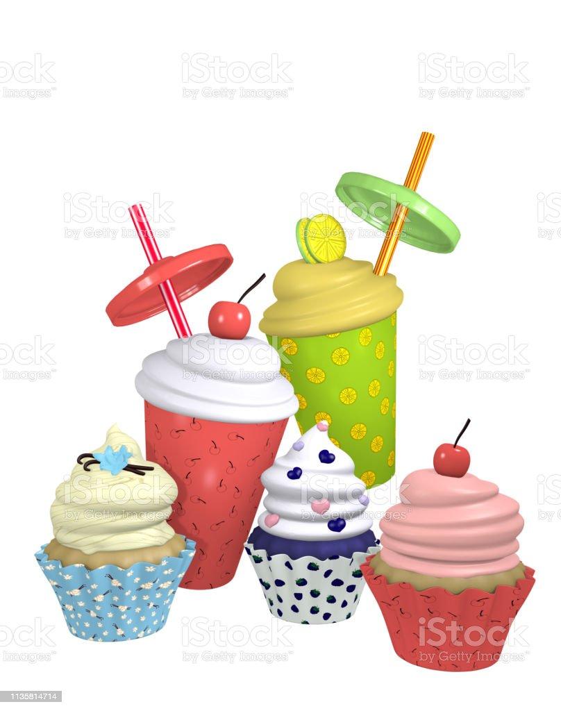 Cupcakes und Milchshakes – Foto