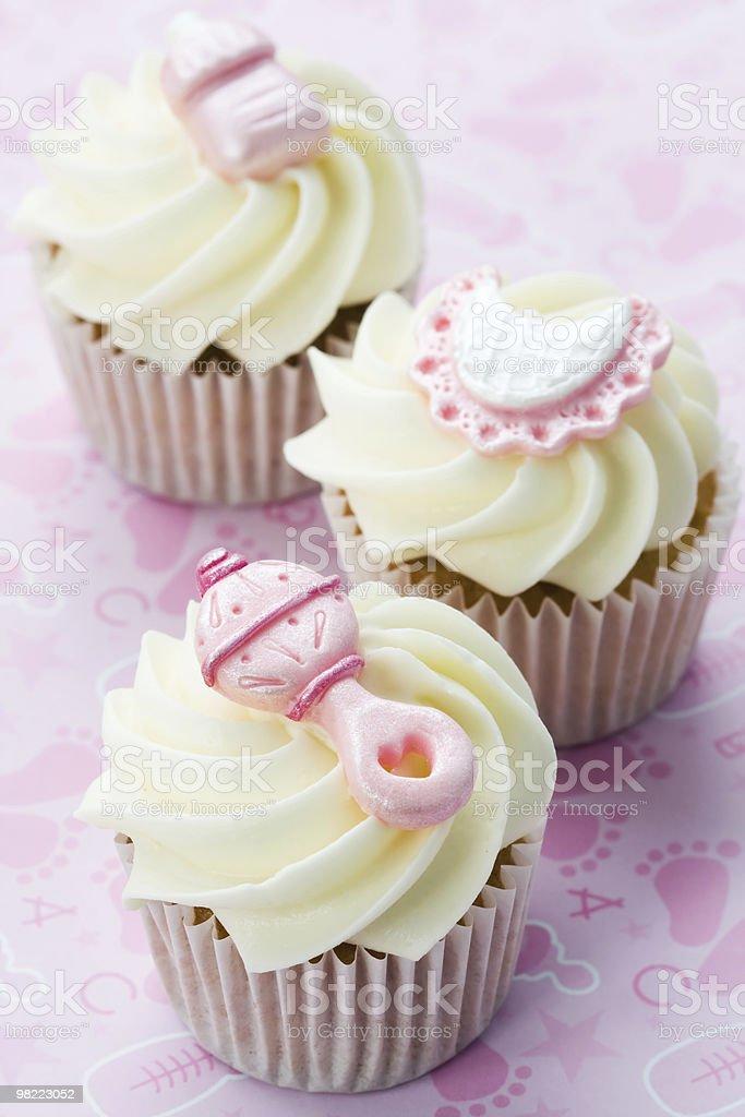 Cupcakes per un bambino doccia foto stock royalty-free