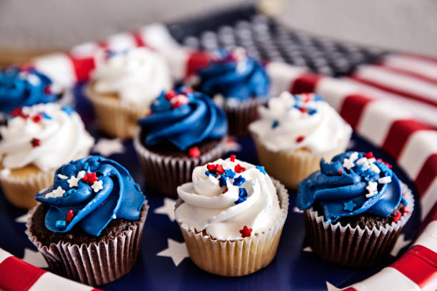 Cupcakes For Fourth Of July Party stock photo
